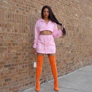 Dresses - Pink two pink sweat skirt set